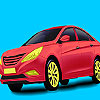 Red holding car coloring jeu
