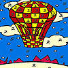 Red flying balloon coloring jeu