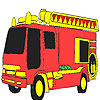Red fire fighting car coloring jeu