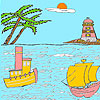 Sea and lighthouse coloring jeu