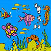 Sea turtle and fishes coloring jeu
