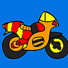 Small colorful motorbike coloring jeu