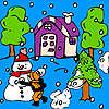 Boule de neige dans le jardin Coloriage jeu