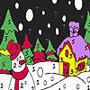Snowman in the winter night coloring jeu