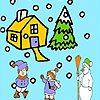 Snow and children coloring jeu