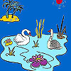 Swans in the lake coloring jeu