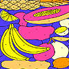 Tropical fruits on a plate coloring jeu