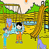 Two friends in the park coloring jeu