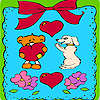 Valentines day animals in frame coloring jeu