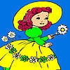 Village girl and flowers coloring jeu