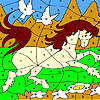 White doves and horse coloring jeu