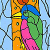 Woodpecker in the forest coloring jeu